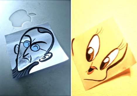 Cartooned Sticky Notes
