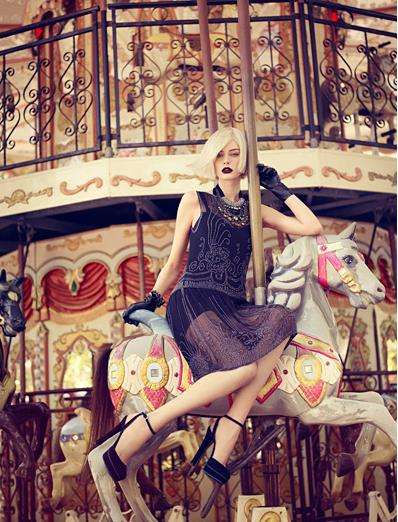 Chic Carousel Flapper Photography - The Auguste Abeliunaite Vogue Portugal September Issue is Hot