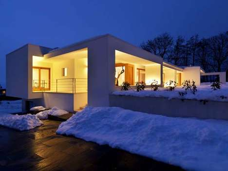 Boxy Frosted Abodes - 'Horizontal Space' Residence is Truly a Winter Wonderland