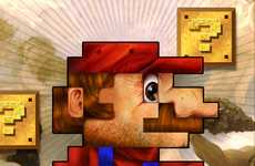 Realistic 8-Bit Gaming - Jimiyo Draws Mario and Link Artfully But Constrained to Jagged Shapes