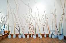 Technicolored Tree Installations - The 'Dyed in the Wool' Art Piece is a Fairy's Paradise