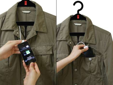 Rechargeable Clothes Carriers - The Hanger USB Charger Recharges Your Gadgets in the Closet