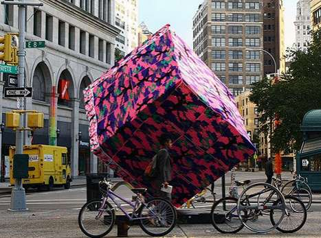 Yarn-Swathed Sculptures - The Agata Olek Crocheted Astor Place Cube Will Be Warm for Winter