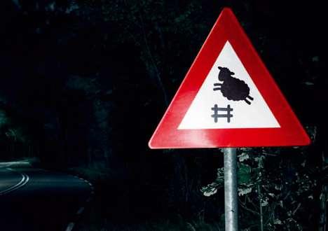 Sheepish Street Sign Ads