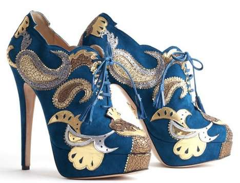 Pumped-Up Paisley Heels - The Charlotte Olympia Orient Express Booties Boast Impressive Prints