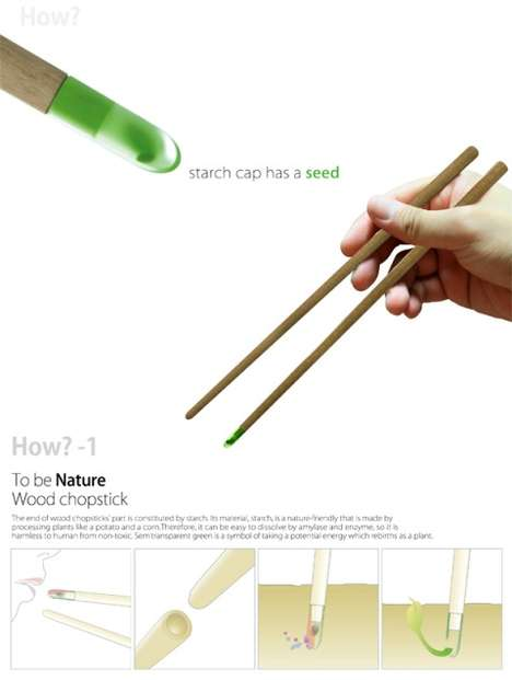 Germinating Eating Utensils - The Nature Wood Chopstick Grows a Tree After Consuming