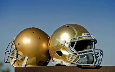 The Notre Dame Gold Helmets are Pricey Painted Protectors