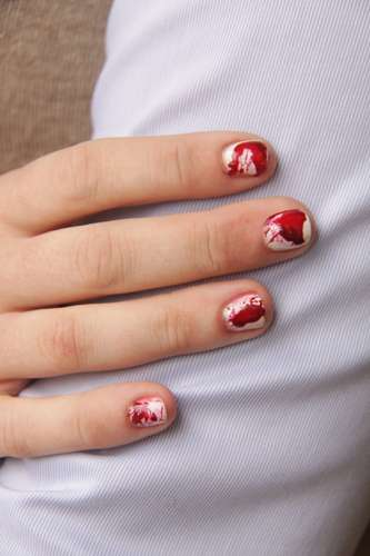 The DIY Blood Splatter Nails are a Halloween Gore Fest