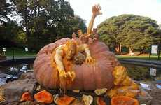 Monstrous Pumpkin Sculptures - Ray Villafane Carves World's Largest Pumpkin into Zombies