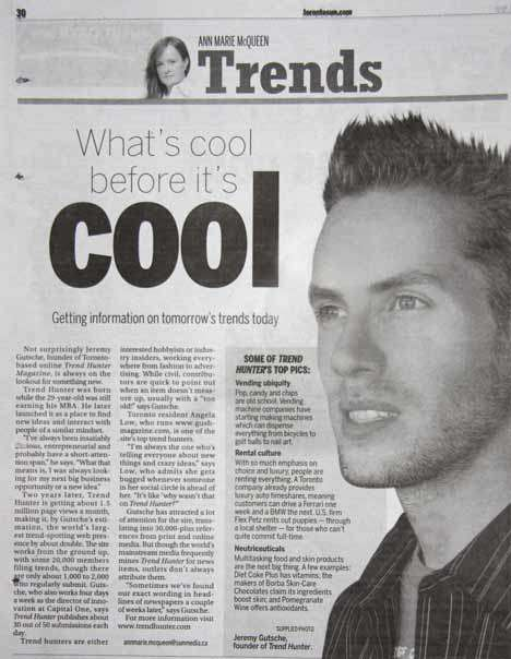 Trend Hunter and Jeremy Gutsche Full Page Profile in The Sun (National)