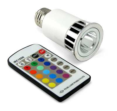 Remote Controlled Color - Multi-Color LED Lightbulb