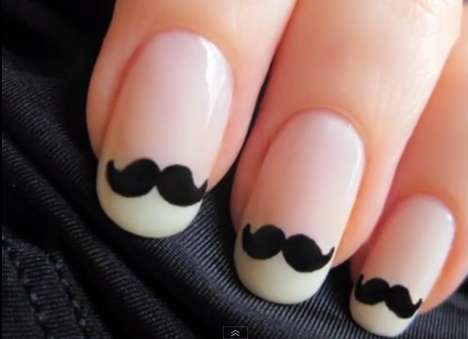 Moustachioed Manicures - Cute Polish's Moustache Nails Tutorial is a Girly Way to Support Move