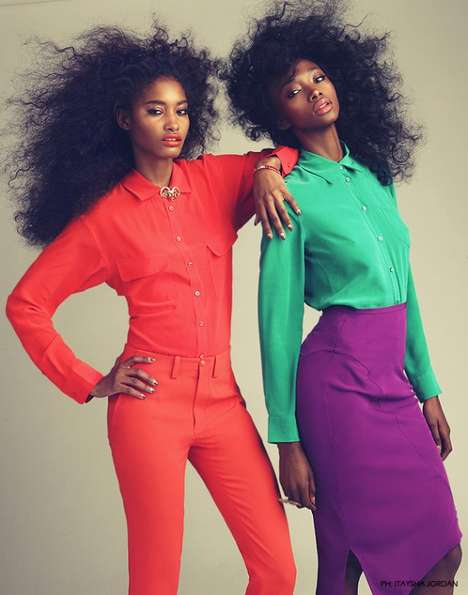 Primary-Colored Pictorials - This Itaysha Jordan Shoot Shines With Big Hair and Bold Looks