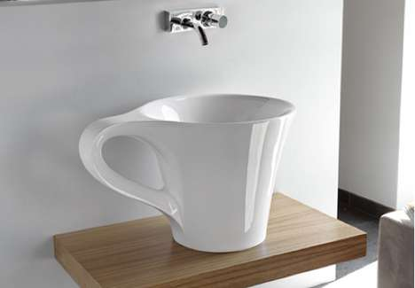 Magnified Mug Sinks - Artceram Cup Washbasins Start Your Morning with an Extra Large Coffee