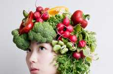 Raw Food Headpieces - 'Hanayui' by Takaya Hanayuishi is Eccentrically Grandiose