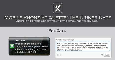 Cellular Supper Manner Guides - The 'Mobile Phone Etiquette: the Dinner Date' Chart Offers Tips