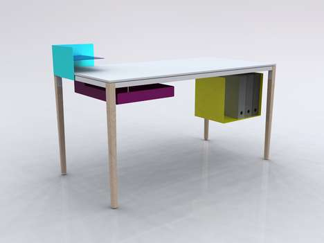 Colorblocked Office Furniture - Felix de Pass' Boundary Desk is Minimalist and Modular