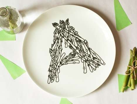 These Alphabet Dinner Plates Use Food Items to Form Letters