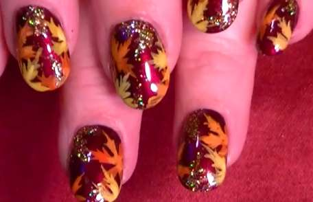 These Thanksgiving Nails by Robin Moses are Glittery and Fun