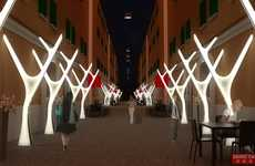 Substantial Antler Lamps - This Roma by Light Entry Brings Organic Illumination to Urban Alleys