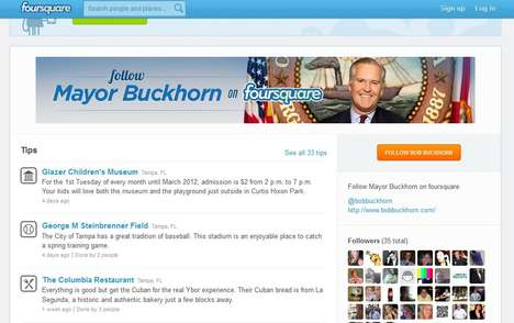 Real-Life Social Media Mayors - Mayor Bob Buckhorn of Tampa Uses Foursquare to Promote City