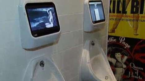 Video Game Urinals - London's The Exhibit Bar Offers Men a Pee-Controlled Game