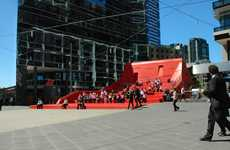 Vibrant Public Amphitheatres - The Red Stair Boasts a Backlight to Draw Eyes Even At Night