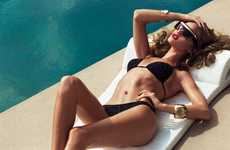 Spunky Sparkling Swimsuits - The Harper's Bazaar UK Shoot Gets Super Seductive