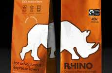Robust Brew Branding - Rhino Coffee Packaging Makes a Bold Appearance in the Morning Beverage Market