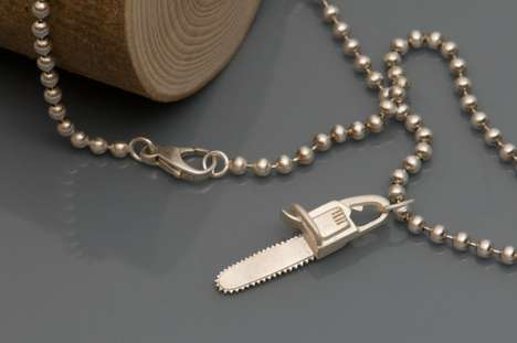 Weapon Wielding Neckchains - The Silver Chainsaw Necklace Will Make You Look Sharp