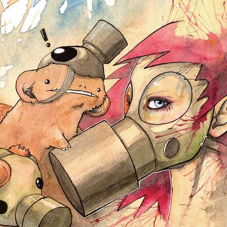 Watercolor Gas Mask Girls