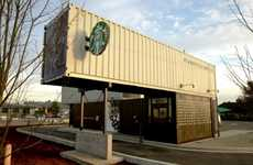Industrial Box Coffee Shops - Starbucks Shipping Container Location Opens in Washington