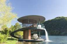 Man-Made Waterfall Architecture - The Shore Vista Boat Dock is Serenely Sweeping