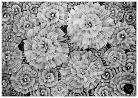 Meticulous Floral Line Art