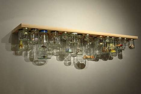 Decluttering DIY Kitchen Tops - The Peter Marigold Jam Jar Shelf Makes Space by Defying Gravity