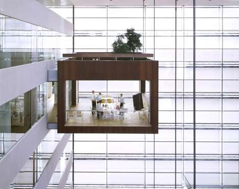 Cliffhanger Conference Structures - The Nykredit Headquarters Boast Unique Suspended Meeting Rooms