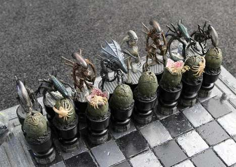 Snarling Battle Boards - Aliens VS Predator Chess Piece Fights in an Epic Strategic Showdown