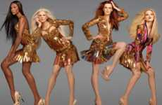 Blinding Gilded Garments - The Roberto Cavalli Spring Campaign Showcases Serious Sparkle