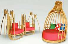 Eccentric Teepee Seating - The Deesawat Bottle Collection Offers Contemporary Slatted Enclosures