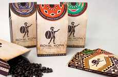 Haute Hawaiian Packaging - The Royal Kona Coffee Packaging Highlights the Coffee Bean's Origins