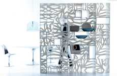 Arboreal Lattice Ledges - The Esedra Domino Shelf Draws Branchlike Shadows Indoors