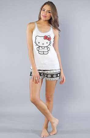 Funky Feline Pajamas - These Hello Kitty Intimates are Adorably Cute