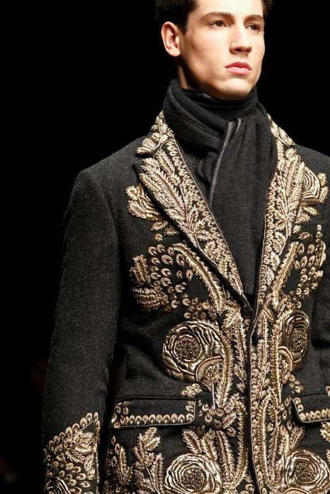 Baroque Gentleman Fashion - The Dolce & Gabbana FW13 Men Collection Brings Back Middle-Age Glamor