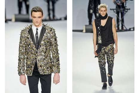 Bedazzling Buttoned Menswear