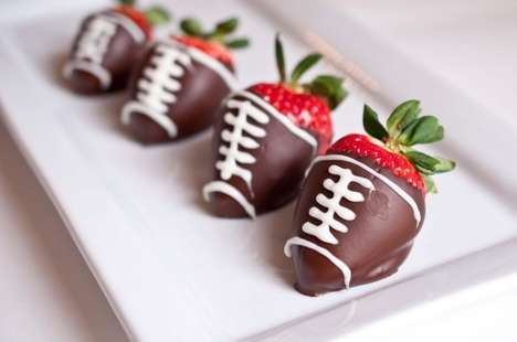Chocolate Football Fruits - Sweet Strawberry Snacks for Superbowl 46