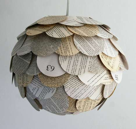 Literature-Shingled Lamps - The Zipper 8 Lighting Collection Covers Bulbs with Book Contents