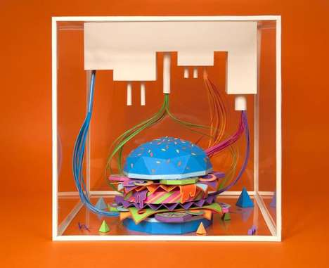 Bright Burger Sculptures - Icon Magazine Features a Colorful Edible on the Cover