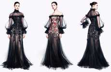 Gothic Sheer Fashion - The Alexander McQueen Pre-Fall Collection is Dramatically Feminine