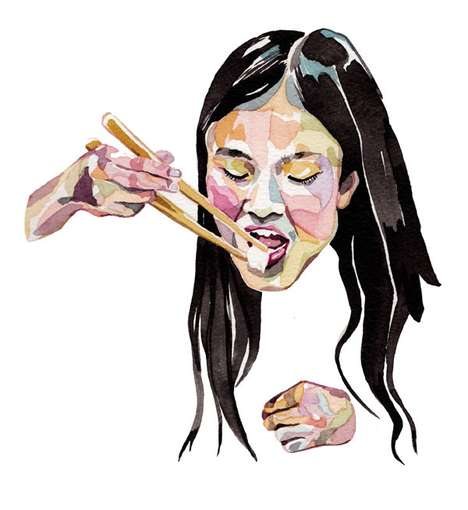 Funky Food-Eating Illustrations