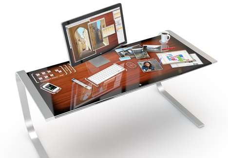 Tactical Touchscreen Workspaces - The Adam Benton iDesk Concept is One Advanced Office Surface